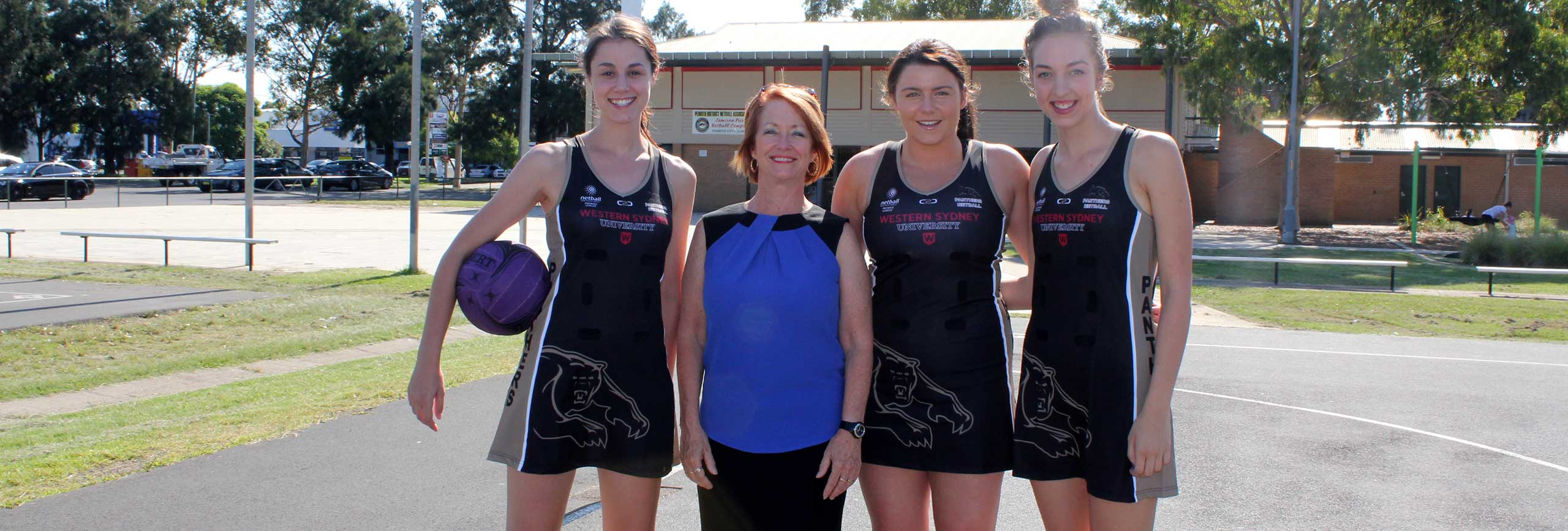 Panthers Netball players with Penrith Mayor Karen McKeown
