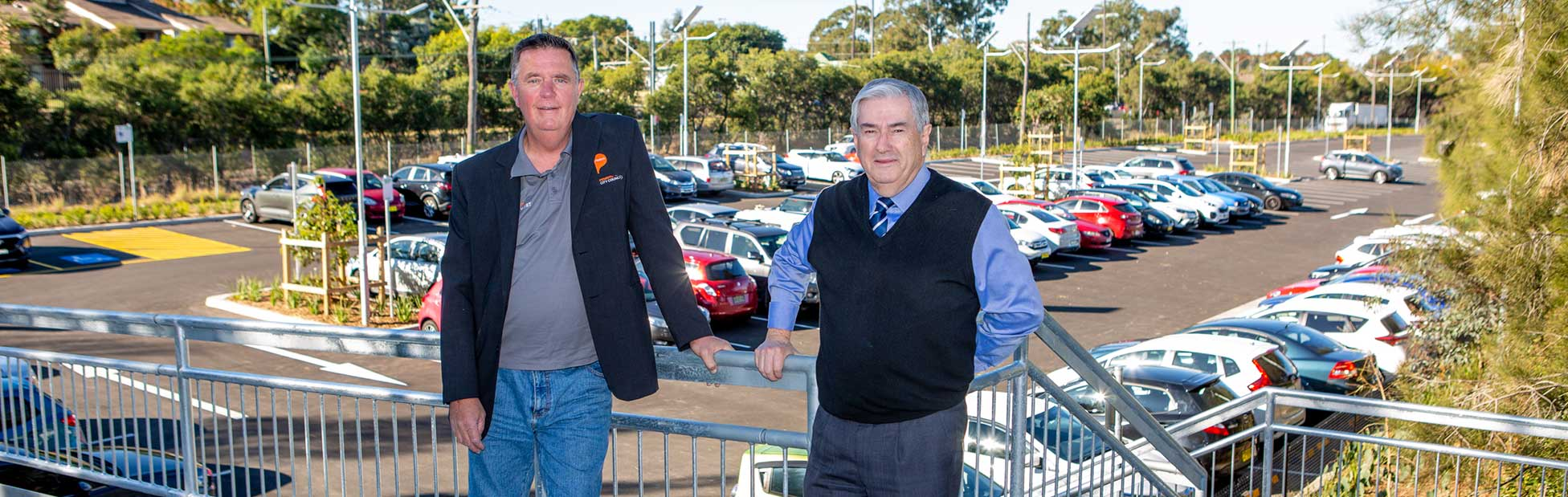 Deputy Mayor Greg Davies and Mayor Ross Fowler OAM pictured on the access ramp to the new North Street car park.