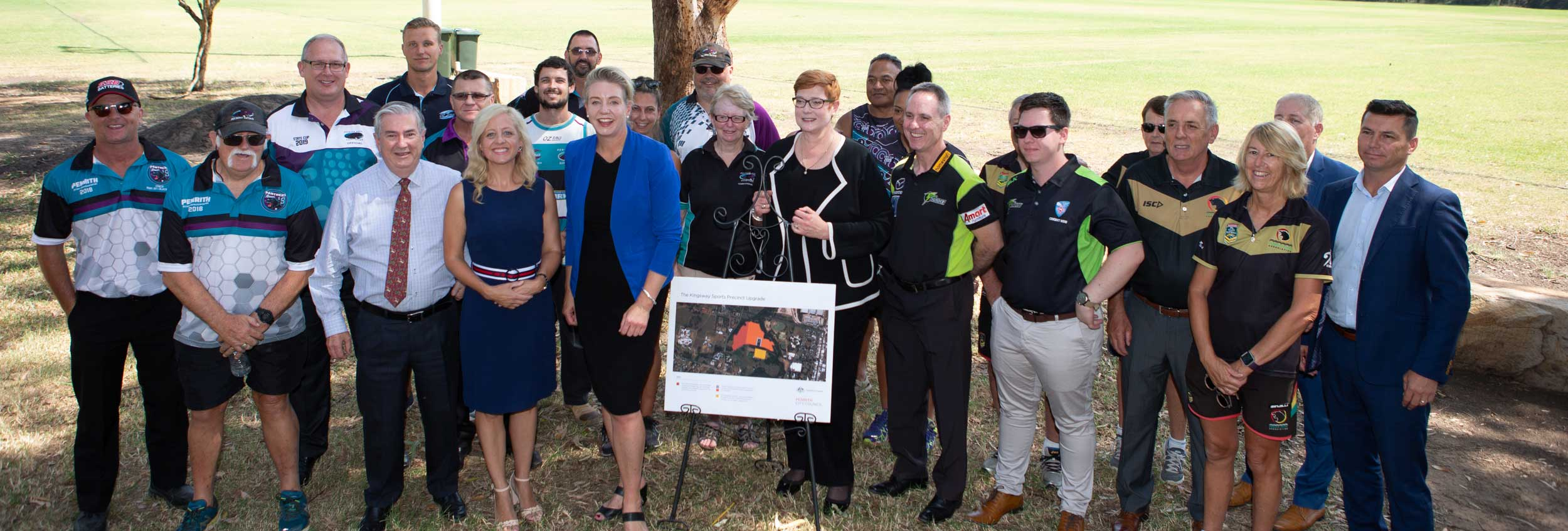 Penrith Mayor Ross Fowler OAM joined Federal Ministers, Senator the Hon. Bridget McKenzie and Senator the Hon. Marise Payne with local sporting groups (Cricket, Oztag and Touch Football) at The Kingsway for the announcement of upgrades to the lights and playing surface.