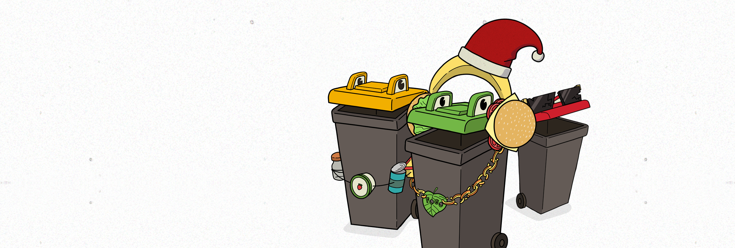 3-bins, green red and yellow