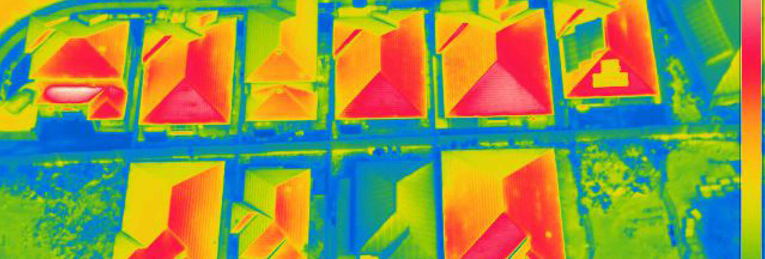 Heat map of urban rooftops