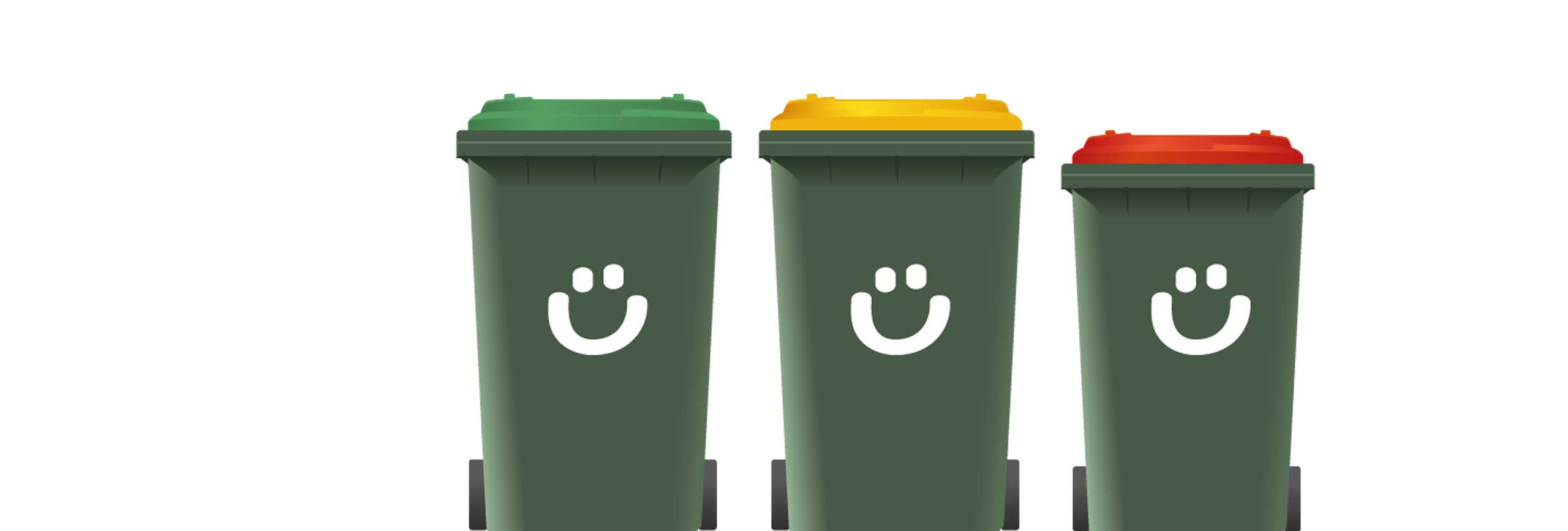 Graphic showing three bins - green, yellow and red
