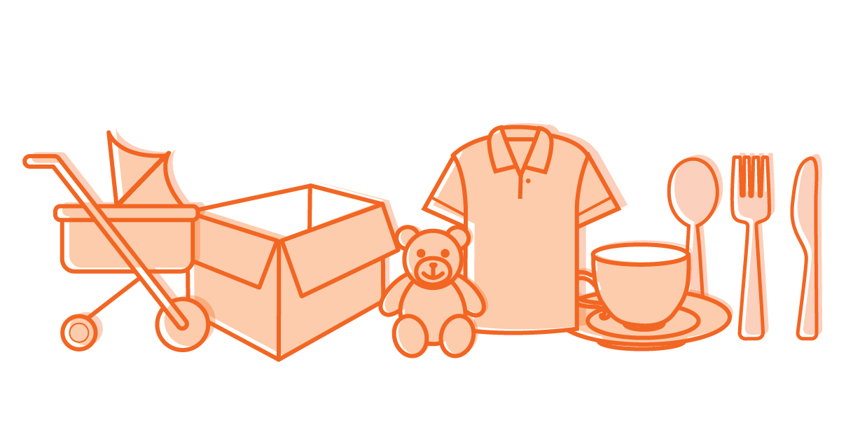 Household goods and loose items: toys, prams, clothing, linen, crockery, boxes, etc. are accepted.